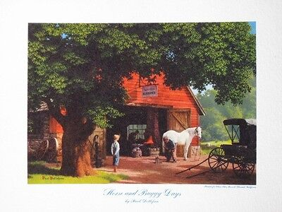 """Paul Detlefsen Art """"Horse and Buggy Days"""" Vintage Small Litho Brown & Bigelow A+"""