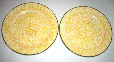 Stangl Pottery: TOWN & COUNTRY Yellow Spatterware: 2 Salad Plates: GVC: NR