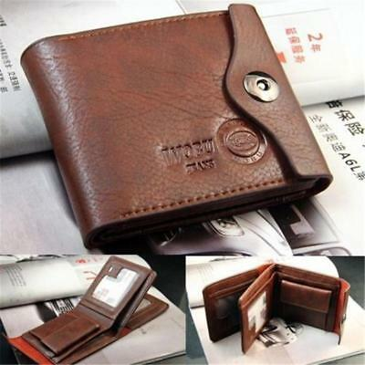Men's Leather Credit Card Holder Clutch Bifold Coin Purse Wallet Pockets NEW - S