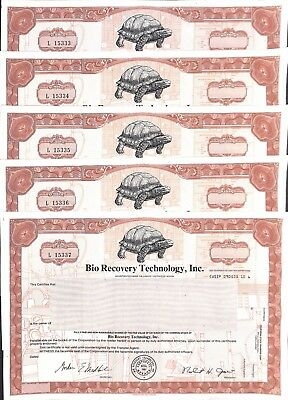 10 Unissued 1981 Turtle Bio Recovery Technology Inc. Common Stock Certificates