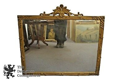 Antique Louis XV Regency Style Wall Mirror Carved Gold Painted Leaves Rectangle