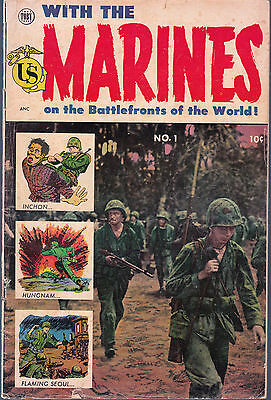 With The Marines On The Battlefronts Of The World #1 1953 Toby-John Wayne Story-
