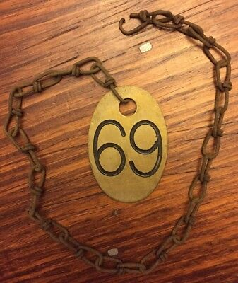 Vintage Lucky #69 Antique Brass Old Cow Tag 2 Sided with  Chain  Farm Rusty