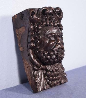"""*7"""" French Antique Hand Carved Oak Wood Man's Head w/Beard Salvage Trim"""