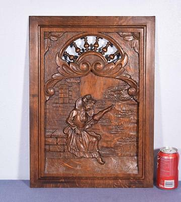 *French Breton Panel Brittany in Chestnut Wood with Woman Salvage