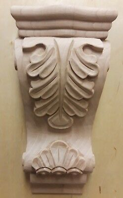 Corbel Cherry Corbel-A-7-CH Unfinished Low Profile Acanthus Hand Carved Wood New
