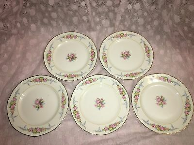 """5 antique floral roses 6"""" bread plates Victorian shabby chic gold trim pink blue"""