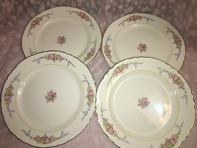 """4 antique floral roses 9"""" dinner plates shabby chic gold trim scallop pink blue"""