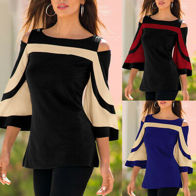 Fashion Women Off Shoulder Flare Sleeve Tops Pullover Lady Casual Blouse T-Shirt