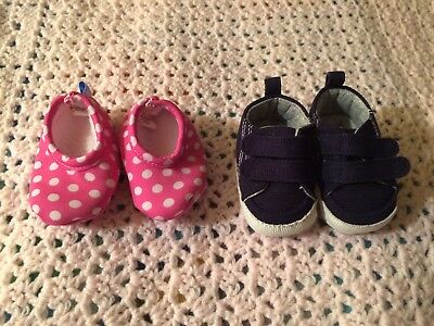 Lot Of 2 Pair Newborn NB Baby Girl Shoes Blue, Pink Polkadot - Carters, Snoozies