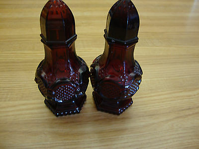 Avon Cape Cod Salt & Pepper Glass Shaker Ruby Red