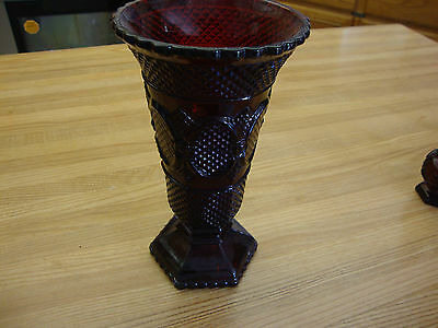 Avon Cape Cod Flower Vase Ruby Red