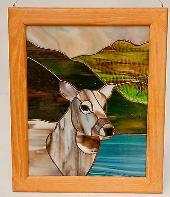 Stain Glass Leaded Window in Wood Picture Frame ART