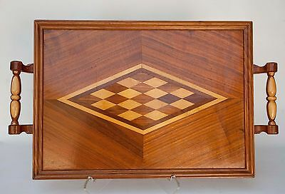 Vintage Wood Serving Tray With Geometric Inlay