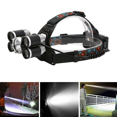 80000LM 5X XML T6 LED Headlamp USB Rechargeable 18650 Headlight Head Light Torch