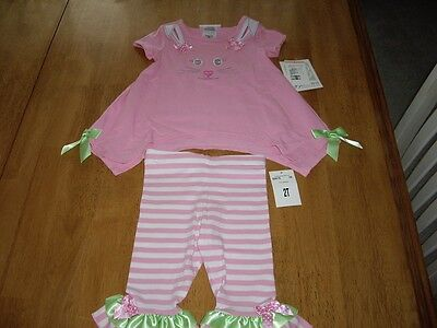 NWT Girls Size 2T Bonnie Jean Bunny Legging Set Pink Boutique Easter
