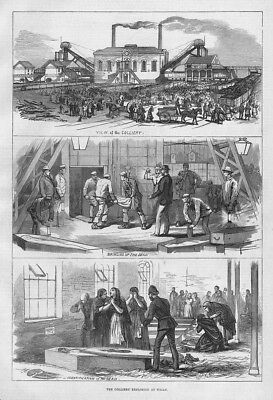 WIGAN Scenes at the Pemberton Colliery Explosion - Antique Print 1877