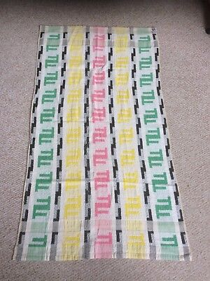 Haberdashery clearance find - 1960`s bathroom towel(s) multi-coloured & white