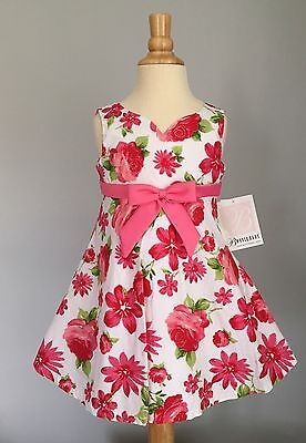NWT Bonnie Jean Baby Girl Boutique Pink Floral Toddler Dress Spring Easter 2T 24