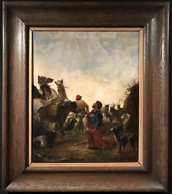 Fine 19Th Century Large Oil Painting - Angel Of The Lord Appearing To Shepherds