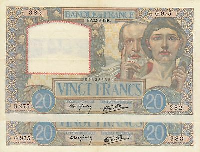 Frankreich 20 Francs  Science and Industry - 22-08-1940 2 consecutives numbers