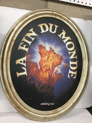 "Unibroue Beer La Fin Dumonde 23"" Framed Wood Advertising Sign Man Cave Bar Pub"