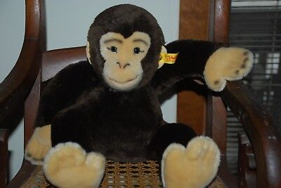 "Steiff brown monkey, chimpanzee 13"", 064241 Germany"