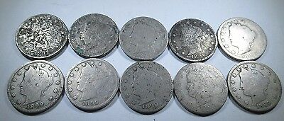 10 Early 1887-1899 US Liberty V Nickels Antique Vintage Old Currency Coin Money