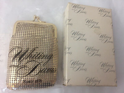 NEW Vintage WHITING & DAVIS Gold Metal Mesh CIGARETTE CASE Original Box NOS