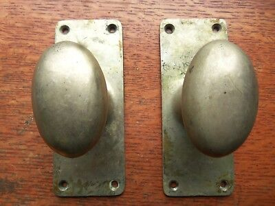 Two Antique Elegant Cast Brass Oval Pantry or Passage Doorknobs & Plates c1900