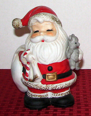 "Vintage HOMCO 6 1/4"" Santa Claus With Teddy Bear Bank Orig Tight Plug 5610 - EXC"