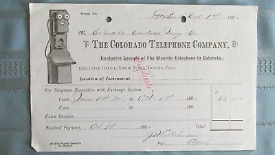 1884 Colorado Telephone Company Electric Telephone Lease Billhead-Georgetown CO
