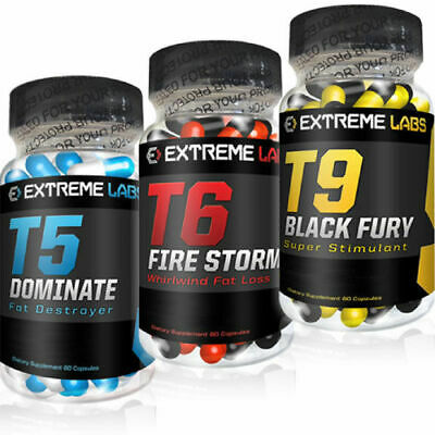 Extreme Labs T5 Dominate / T6 Fire Storm / T9 Black Fury Fat Burner 90 Capsules