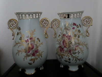 A Pair of Beautiful Large Antique/Vintage Hand Painted Vases