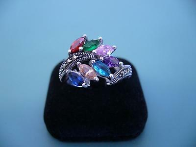 Marcasite & Created Gemstone Cluster Ring - Sterling Silver - Size R.5 / 9 - 6G