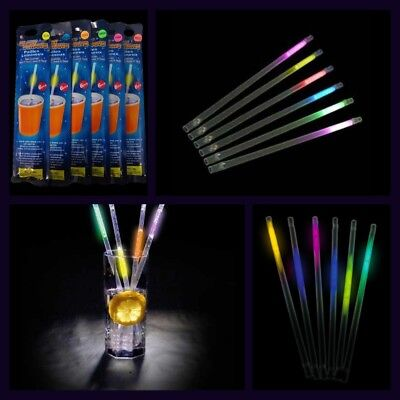 """5 Packs """"GLOW STICK DRINKING STRAWS"""" 30 Straws To Brighten Up Any Party"""