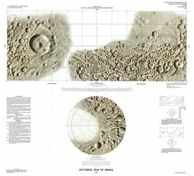 1992 U.S. Geological Survey Pictorial Map of Mimas, Moon of Saturn