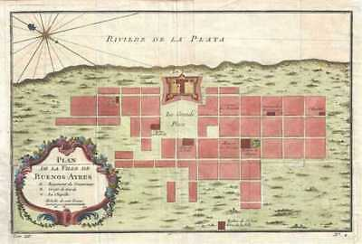 1758 Bellin Map or Plan of Buenos Aires, Argentina
