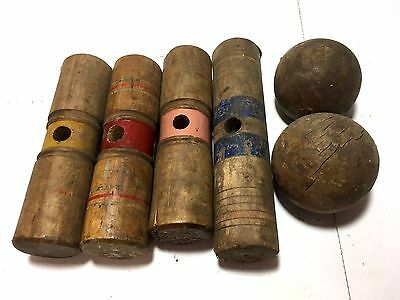 Mixed Lot Vtg Primitive Weathered Wooden Croquet Mallet Heads Balls Decor Crafts
