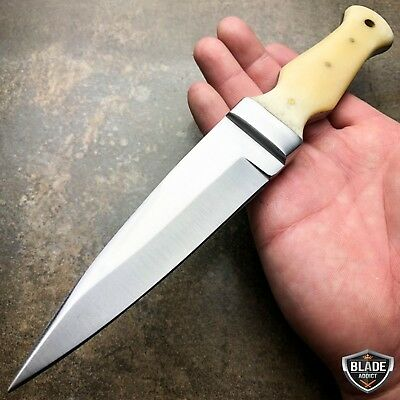 "9"" Full Tang Survival Camping Fixed Blade Hunting Dagger Knife w/ Bone Handle"