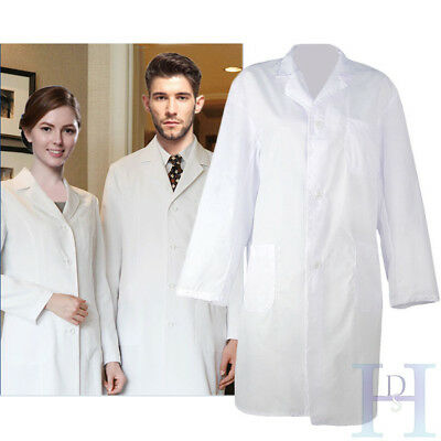 Unisex White Hospital Uniform Lab Coat Medical Doctor Long Coats Jackets Nursing