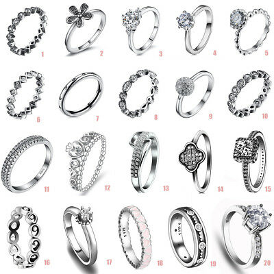 925 Crystals Fashion Silver Jewelry Women Wedding Gift Engagement Wedding Ring