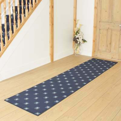 Square Blue - Hallway Carpet Runner Rug Mat For Hall Extra Very Long Cheap New