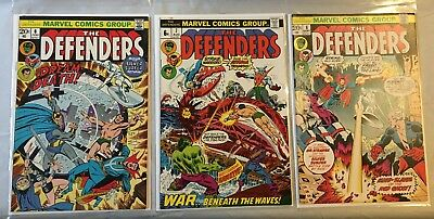 DEFENDERS #6 , #7 and #8  MARVEL COMICS (1st SERIES - 1973 - FN/VFN- )