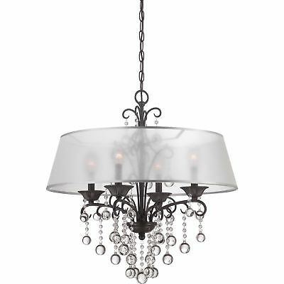 Quoizel Carrabelle French Bronze and Crystal Drop 4-light Chandelier