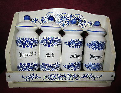Vintage Blue And White Spice Rack With Spice Jars - Japan
