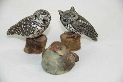 """2 Wooden Owls 2.5"""" GREAT GREY & SCREECH + a carved Stone Bird by Arts in Stone"""