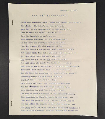 1957 German typed poem/story, possibly a bit naughty, called SEX-ON-HILL'S STORY