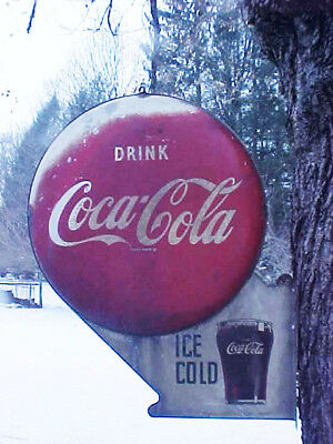 Coca Cola Original1950 Double-Button Metal Flange Sign; No Reserve