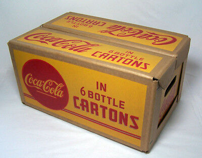 1950s COCA-COLA Waxed Cardboard Case 6-Pack Bottle Cartons - Mint -FREE SHIP USA